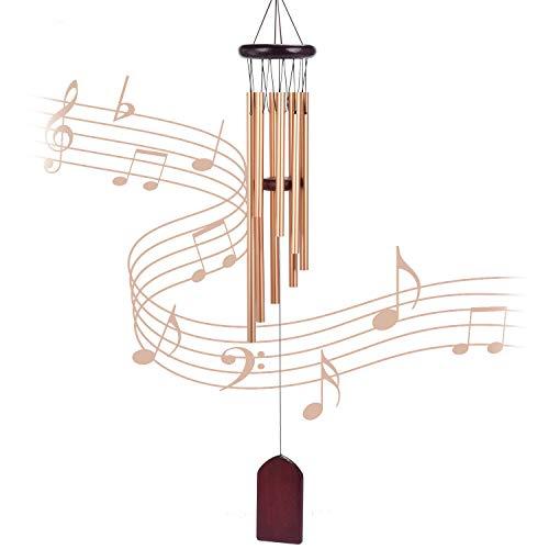 Carrillon de viento exterior, 8 tubos de aleación de aluminio, ampanas de viento para jardin, arbol, casa de madera,decoracion casa ( dorado)