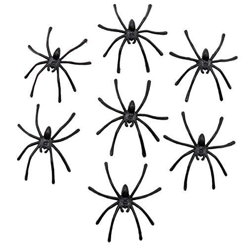 Arañas de plástico negro,50 piezas de araña falsa de Halloween, mini arañas de plástico realistas para la casa embrujada, Halloween, decoración de la fiesta del día de los inocentes