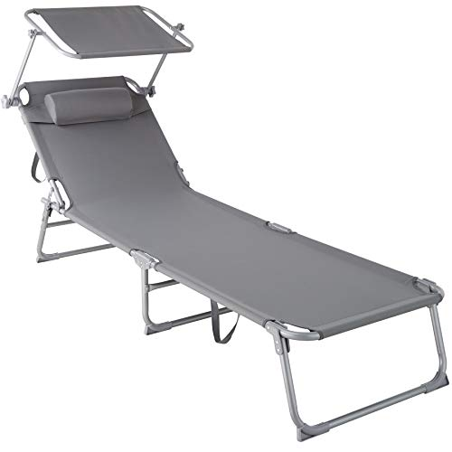 TecTake 800772 Tumbona de Playa con Parasol, Respaldo Ajustable 4 Posiciones, Reposacabezas Extraíble, Exterior Piscina Terraza Jardín (Gris | No. 403413)