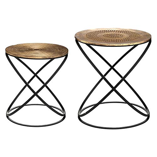 Atmosphera – Juego de 2 mesas auxiliares con pie de metal y tablero de madera, decoración étnica