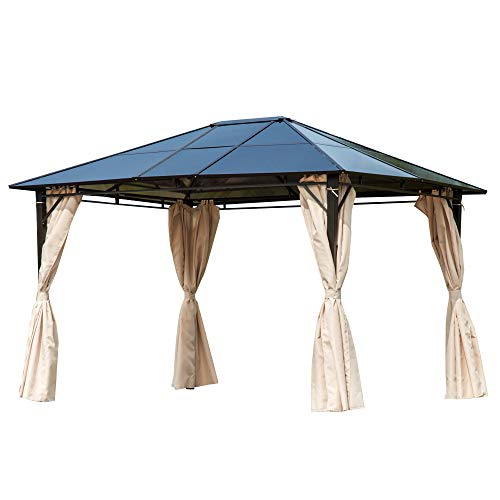 Outsunny Cenador de Jardín 3,65x3 m Pabellón de Acero con Techo de Policarbonato de 6 mm Protección UV 50+ y 4 Cortinas Laterales de Cremallera para Fiestas Beige