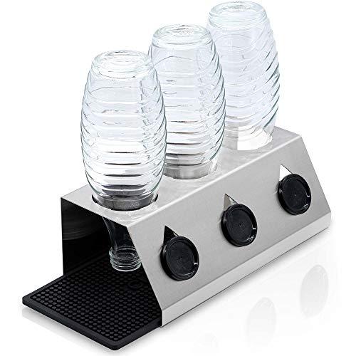 Soporte escurridor de Botellas con Alfombrilla - Accesorio de menaje Cocina de Acero Inoxidable para el Secado de Botellas de Soda/Agua con Gas