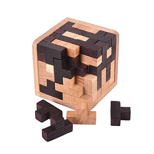 Chonor Cubo Rompecabezas 3D de Madera del Enigma Juego Puzle #7 -...