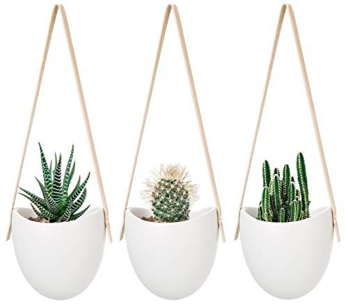 Mkouo cerámica Colgante plantador suculento Aire Planta Maceta decoración de la Pared, Juego de 3
