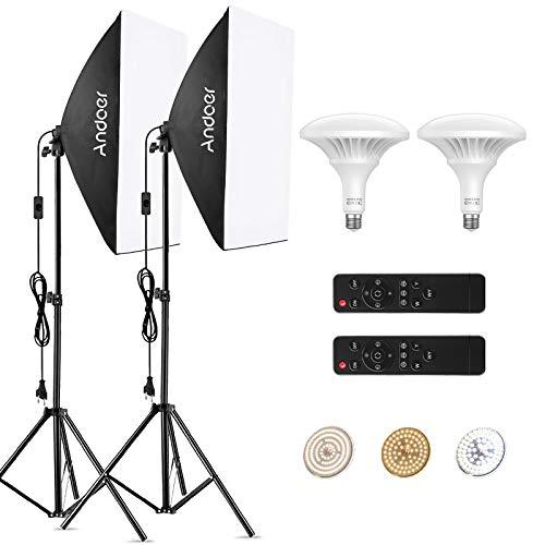 Andoer Softbox Kit iluminacion Fotografia con Control Remoto de 150W LED Bombilla Ajustable , Temperatura de Color 3000K-6000K,2 50x70cm Softbox y Tripodes para Estudio Fotográfico Profesional