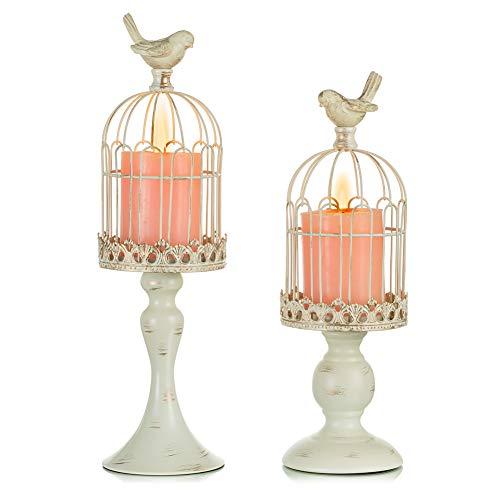 Sziqiqi Vintage Bird Cage Candelabro Metálico Linterna Conjunto de 2...