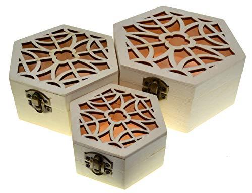 JB1 3 cajas de hexaganol Cajas nido Cofre del tesoro (paquete de 3)...