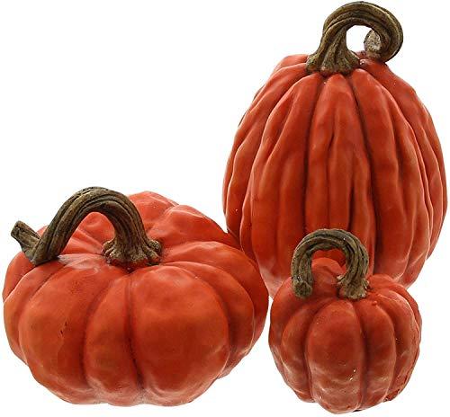 khevga Juego de calabazas decorativas para otoño, color naranja