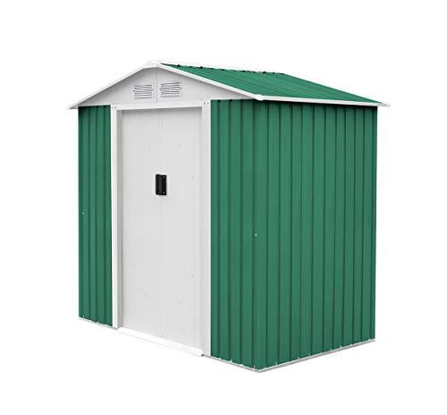 GARDIUN KIS12140 - Caseta Metálica Yorkshire 2,43 m² Exterior 121x201x190 cm Acero Galvanizado Verde
