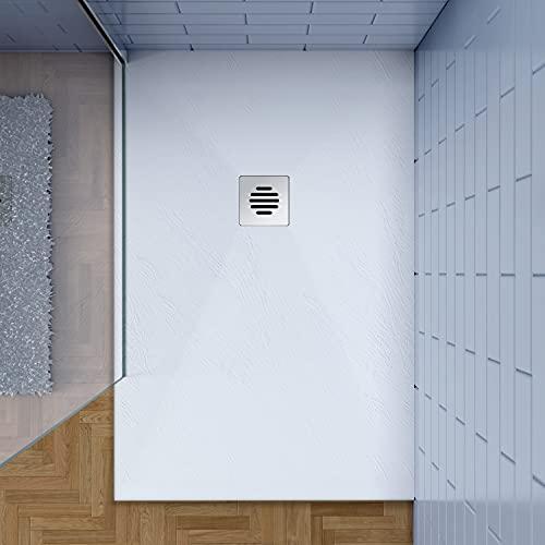 80x120cm Plato de ducha AICA blanco textura pizarra+ desagué con tapa...