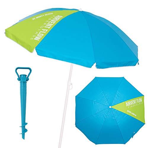 LOLAhome Pack sombrilla de Playa antiviento de Ø 220 cm Azul de Acero y Fibra Vidrio, con Soporte