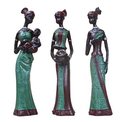 POHOVE 3 figuras africanas, estatuas de arte de mujeres africanas, estatuas de triba l Lady Figuras, figura decorativa coleccionable, figuras negras para manualidades, muñecas