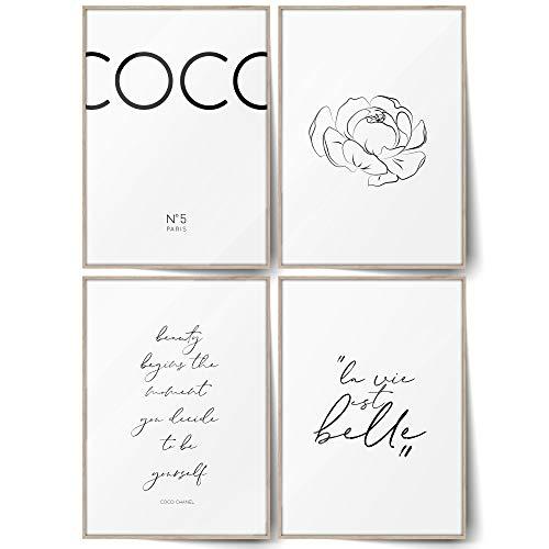 BLCKART Juego de pósteres Infinity Coco de doble cara, elegantes imágenes escandinavas modernas para salón, decoración de pared (Coco White | A4 | 4 unidades, sin marco)