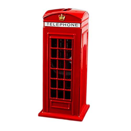 Nrpfell Metal Rojo Banco De Cabina De Teléfono De Londres De Inglés Británico Banco De Moneda Bote De Ahorro Hucha Caja Cabina De Teléfono Rojo 140X60X60Mm