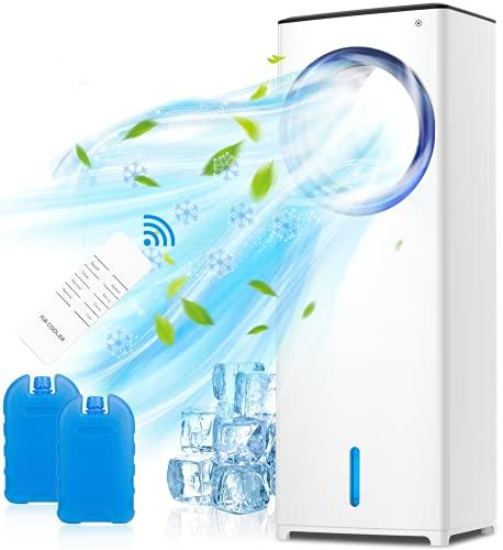 QUARED Enfriador de Aire Acondicionado, 4 en 1 Móvil Climatizador Evaporativo Ventilador Humidificador Purificador, Tanque de Agua 3.5L, 3 Velocidades, Temporizador, Mando a Distancia Hogar Oficina
