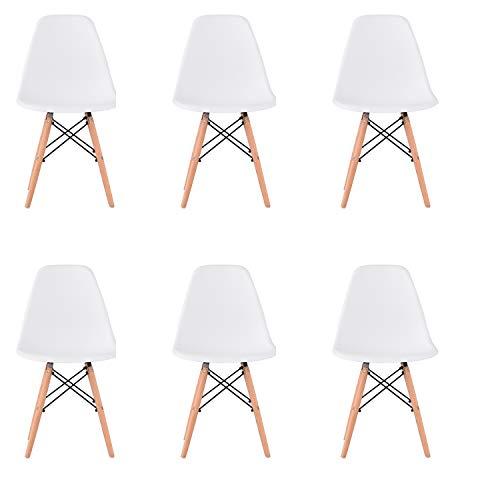 WV LeisureMaster Juego de 6 Estilo de Diseño Retro Comedor Silla Salón Salón Silla de Oficina Pierna de Madera, (Blanco)