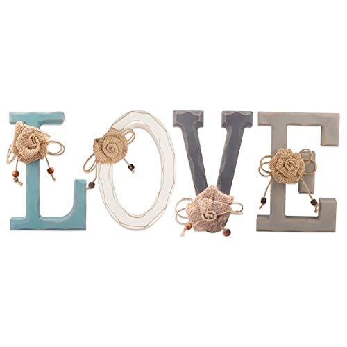 Letras de Madera Decorativas- Love Letras de Madera para Decoración de Paredes en Azul Rústico, Blanco Decoración rústica del hogar para la Sala de Estar - Rustico Home Decor Acentos,44 x 18 x 2,5 cm