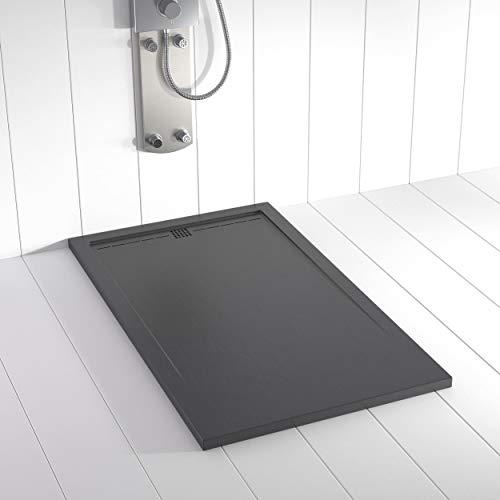 Shower Online Plato de ducha Resina FLOW - 80x110- Textura Pizarra -...