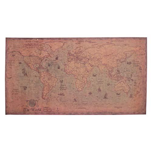 TOYANDONA 2 Piezas Mapa Mundial Papel Kraft Antiguo Vintage Antiguo Estilo Decorativo Náutico Mapa Mapas Arte Retro Mapa para Bar Sala de Estar Cafetería Decoración 71X36 Cm