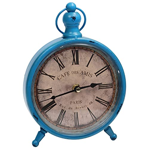 BELLE VOUS Reloj Mesa Silencioso Vintage 23 x 15 cm Reloj Mesita de Noche Antiguo, a Pilas, No Hace TicTac - Reloj Analógico para Sala de Estar u Oficina – Diseño Granja Francés