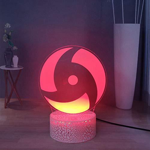 Uchiha Itachi Sasuke Sharingan - Lámpara LED japonesa de 16 colores para decoración de escritorio, lámpara de noche a distancia, USB táctil, mejor regalo para los fans de Naruto