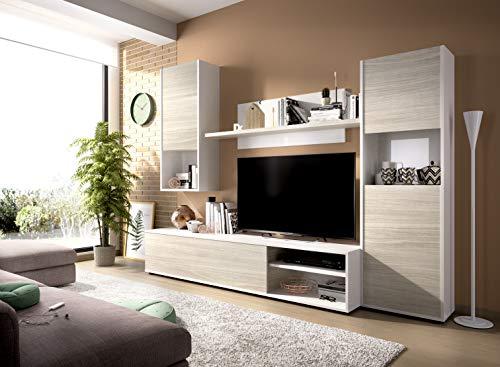 Muebles La Factoría Luka Salón TV Modular, Madera, Blanco B. / Gris,...