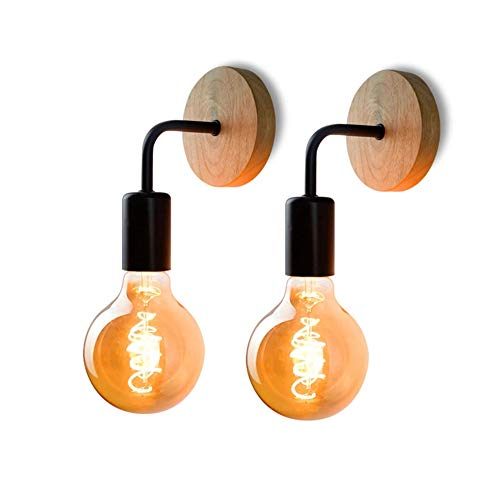 AUA Lámpara de Pared Retro 2 Pack, Aplique de Pared Vintage de Madera, para Sala de Estar, Dormitorio, decoración Industrial