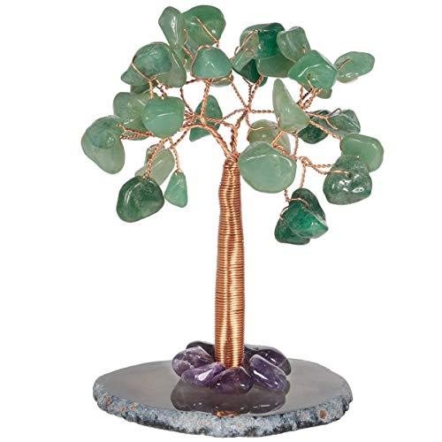 KYEYGWO Aventurina verde, árbol de cristal curativo sobre una base de discos de ágata, árbol de dinero hecho a mano, árbol Feng Shui, bonsái, decoración para oficina, dormitorio y salón