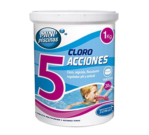 Tamar Cloro 5 Acciones, Tabletas Multifuncion de 20 grs, Especial para Mini Piscinas, 1 Kilo.