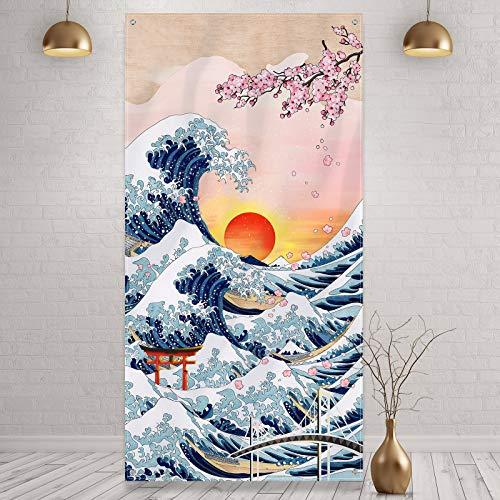 Tapiz de Pared Colgante de Kanagawa Japonés Banner de Puerta de Foto de Gran Ola Fondo de Naturaleza de Arte de Flor de Cerezo Puesta de Sol para Adorno de Hogar Fiesta Japonesa, 6 x 3 Feet