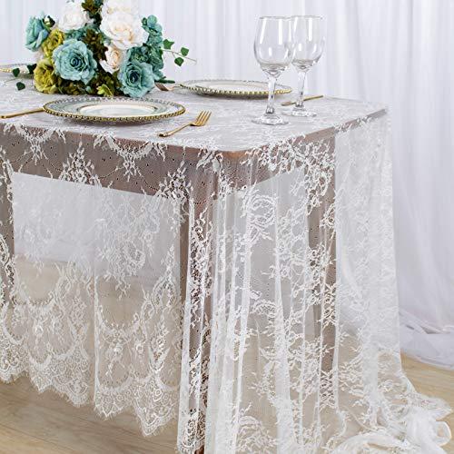 Mantel de encaje blanco para decoración de fiesta de boda, mantel...