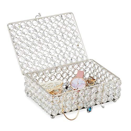 Relaxdays Joyero de Cristal Glamuroso, Caja Joyas con Espejo en la...