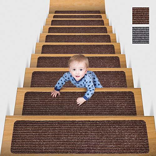 MBIGM 20cm X 65cm (Paquete de 15) Alfombras Antideslizantes Peldaños de Escalera Alfombrilla Antideslizante Interior para niños Mayores y Mascotas con Adhesivo Reutilizable, Marrón