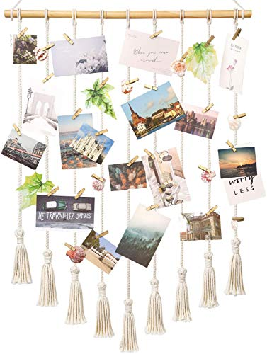 Mkouo Hanging Photo Display Macrame Wall Hanging Pictures Decor Boho...