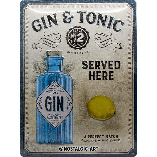 Nostalgic-Art Open Bar - Gin & Tonic Served Here - Idea de regalo para fans de cóctel, cartel de chapa retro, metal, decoración vintage, 30 x 40 cm