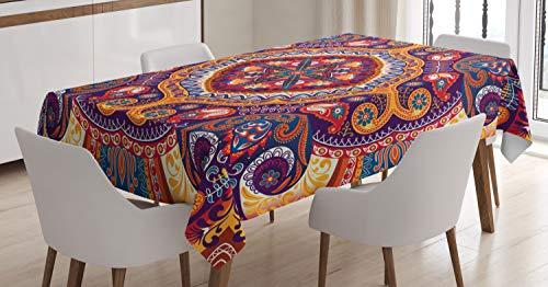 ABAKUHAUS Cachemir Mantele, Alfombra de Flores, Resistente al Agua Lavable Colores No Destiñen Personalizado, 140 x 170 cm, Multicolor