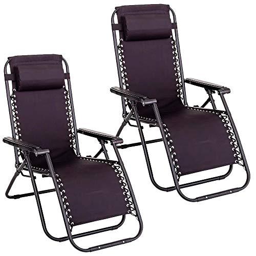 Pack de 2 sillas Gravedad Cero reclinables con Bloqueo de Seguridad de...