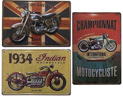 Placas Decorativas Metálicas de Motos |. Set de 3 Chapas Vintage | Decoración Retro de Motos para pared de Salón, Bar, Taller, Oficina | Tamaño 20x30.