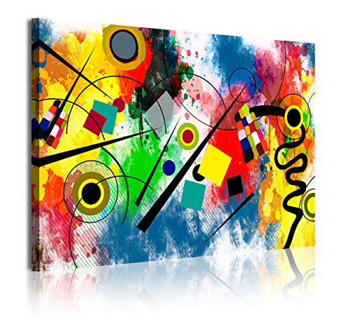 DekoArte 342 - Cuadros Modernos Impresión de Imagen Artística Digitalizada | Lienzo Decorativo para Tu Salón o Dormitorio | Estilo Abstractos Moderno Arte Kandinsky Rojo Azul | 1 Pieza 120 x 80 cm
