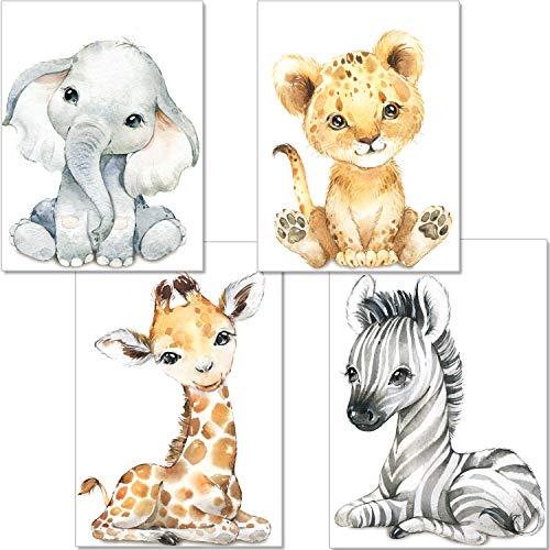 artpin® Juego de 4 imágenes para habitación de bebé, decoración para niños y niñas, DIN A4, póster para habitación infantil, animales de la selva, safari, africano, elefante, tigre, jirafa, cebra, P60