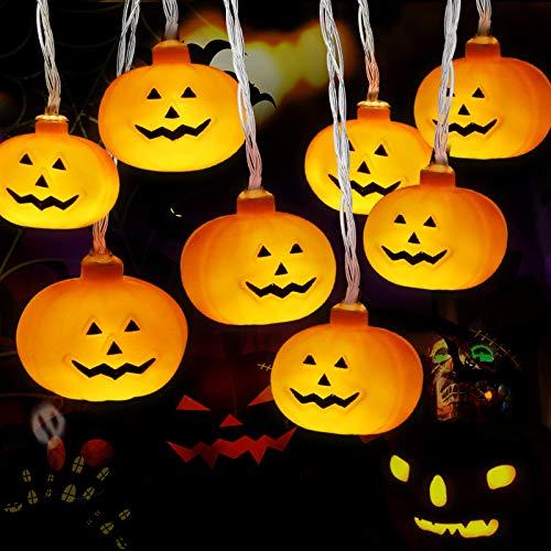 Luces Calabaza, Cadena de Luces Halloween Calabaza, Luces de Cadena de Calabaza 3m 20LED, Luces LED Calabaza para la Fiesta de Halloween, Navidad, Decoración de Interiores y Exteriores, con Batería