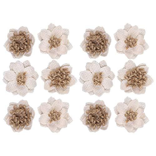 Amosfun 12 Piezas de Flores de Arpillera Natural Flor de Yute de Arpillera Rústica para Decoración de Bodas Manualidades Florales
