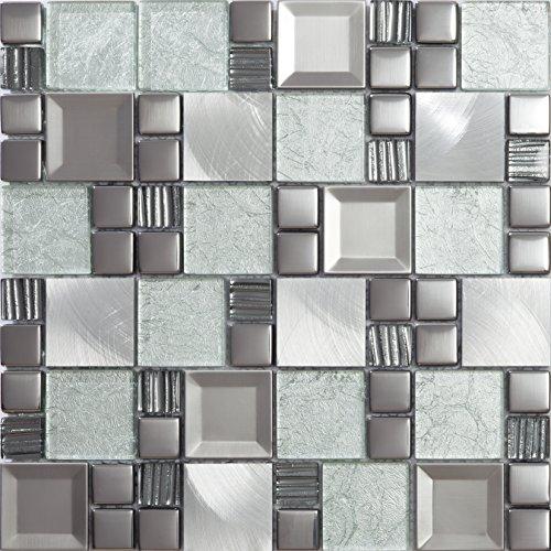Mosaico de Vidrio y Aluminio en Malla ASX-Light, Plata, 8 mm, 30 x 30...