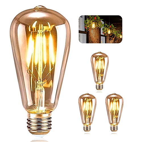 Vintage Edison Bombilla, ASANMU Bombilla LED Vintage E27 ST64 4W (Equivalente a 40W) 2200K Retro Edison Lámpara Ambar Cálido Bombillas Incandescentes para Lluminación y Decoración 220V-240V (3 Piezas)