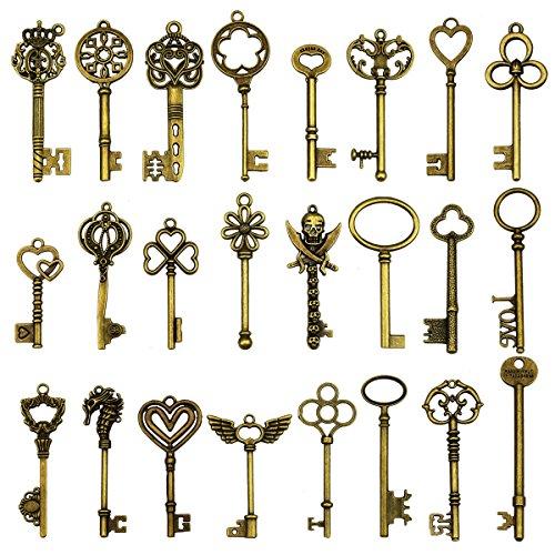 24 piezas grandes llaves de esqueleto de bronce antiguo llave rústica para la decoración de la boda Favor, colgantes del collar