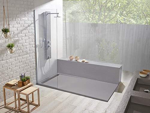 Plato de ducha 80 x 120 Duo Slate, color platino, efecto pizarra...