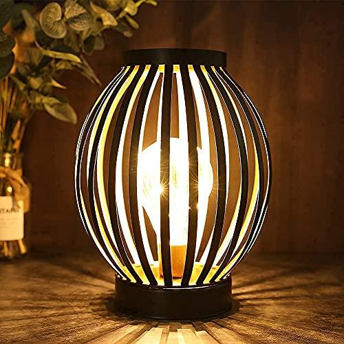 JHY DESIGN faroles metálicos con jaula LED lampara bateria 22cm luz...