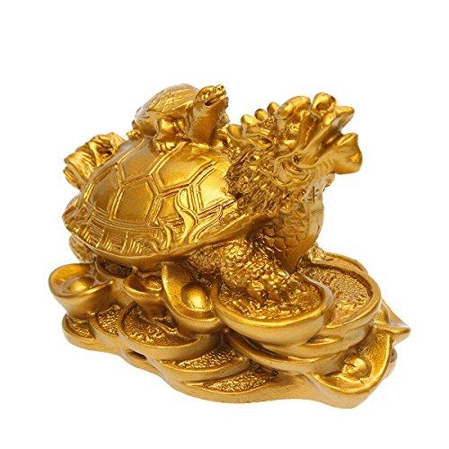 DyNamic Resina Estatua Decoración Feng Shui Dragón Tortuga Tortuga Moneda De Oro Dinero Riqueza Estatuilla