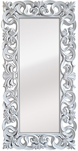 La Fabrica del Cuadro Espejo Decorativo de Pared, Barroco, Modelo Goya - Medida Exterior 88x178 cm, Medida de Espejo 48x138 cm … (Blanco Decapé)