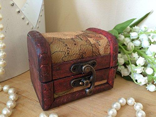 Mini madera monedas joyería Gemelos Anillo Pequeño regalo del caso del diseño del mapa de la antigüedad del vintage Caja de almacenamiento del tesoro del pirata en el pecho